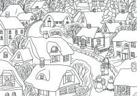 Christmas Village Coloring Pages Printable With Town Technep Info