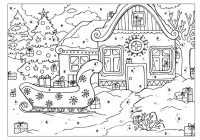 Christmas Village Coloring Pictures With Pages
