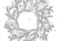 Christmas Wreath Coloring Pages For Adults With Fir Branch Page Stock Vector Royalty Free