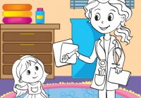 Coloring Book Of Doctor Showing X-ray Pictures Vector Image – x-ray coloring book