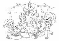 Coloring Page Outline Of Children Decorate The Christmas Tree ..