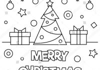 Coloring Pages Of Merry Christmas With Page Black White Stock Vector Royalty Free
