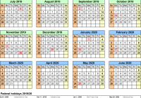 Day Of Year Calendar 2019 With Split 20 July To June Excel Templates