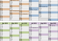 Fiscal calendars 15 as free printable Word templates – Us Fiscal Year 2019 Calendar