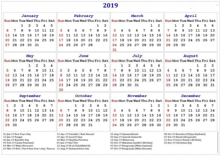 Permalink to Free Printable 2019 Year Calendar With Holidays