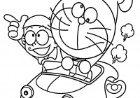 Free Vintage Christmas Coloring Pages With Inspirationa Doraemon In Car