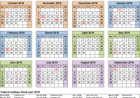 Government Fiscal Year 2019 Calendar With Calendars As Free Printable Word Templates