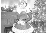 Grayscale Santa Coloring Pages With Girl Tree Page Etsy