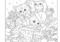 Grayscale Santa Coloring Pages With S Kitty Helpers Holiday Book Design Originals