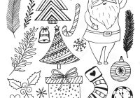 Happy Santa Claus Christmas Coloring Pages With New Year Sketch Doodle Set Book Page