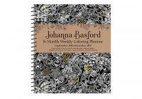 Johanna Basford 2019 Coloring Calendar With DOWNLOAD 2018 16 Month Weekly Planner