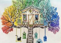 Johanna Basford – Secret Garden – tree house with swing  – the secret garden coloring book