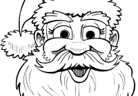 Large Santa Face Coloring Page With Free Claus Outline Download Clip Art On