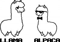 Llama Christmas Coloring Pages With And Alpaca Page Ornaments 2017