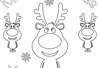 Merry Christmas Card Coloring Pages With Cartoon Reindeers Page Free