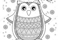 Merry Christmas Card Coloring Pages With Jolly Penguin Detailed Stock Vector