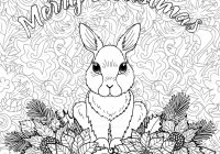 Merry Christmas Coloring Page With Rabbit Stock Vector Art More
