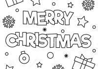 Merry Christmas Coloring Page With Vector Illustration Stock