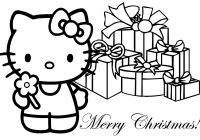 Merry Christmas Colouring In Pages With Color Coloring Hello Kitty