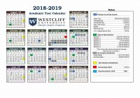 Military Fiscal Year 2019 Calendar With Academic Westcliff University