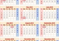 Military Fiscal Year 2019 Calendar With Federal Holidays Excel PDF Word Templates