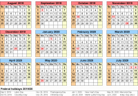 New Year Calendar 2019 With Holidays 2020 Free Printable Two
