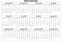 One Year Calendar 2019 Printable With Free Yearly