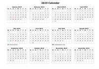 One Year Calendar 2019 Printable With Malaysia Template PDF Excel Word December