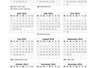 One Year Calendar 2019 Printable With Page Home Design Decorating Ideas