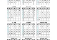 One Year Calendar 2019 Printable With Template On Page