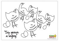 Printable 12 Days Of Christmas Coloring Pages With On The 6th Day Six Geese A Laying