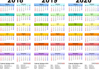 Printable 3 Year Calendar 2019 To 2021 With 2018 2020 4 Three PDF Calendars