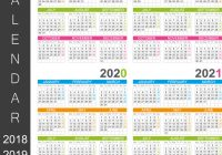 Printable 3 Year Calendar 2019 To 2021 With 2018 2020 Royalty Free Vector Image