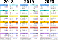 Printable 3 Year Calendar 2019 To 2021 With Three Calendars For 2018 2020 UK PDF