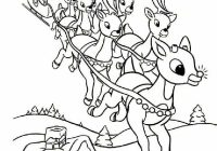 Santa And Reindeer Coloring Pictures With Online Rudolph Other Printables Pages