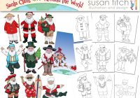 Santa Around The World Coloring Pages With Claus Digital Clip Art Etsy