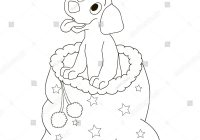 Santa Bag Coloring Page With Christmas Dog Puppy Smiling Stock Vector Royalty Free