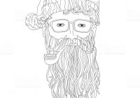 Santa Beard Coloring Page With Hipster For Children And Adults Stock Vector Art