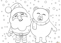 Santa Chimney Coloring Page With Claus Pages Free