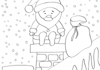 Santa Chimney Coloring Page With December 21 Cute Claus Sitting On
