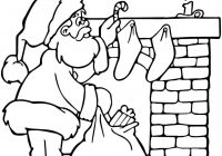 Santa Chimney Coloring Page With Near Fireplace Free Printable Pages