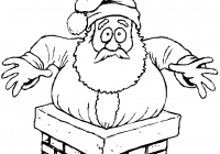 Santa Chimney Coloring Page With Stuck In The Free Printable Pages