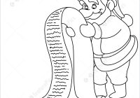Santa Christmas List Coloring Page With Illustration Of Outlined