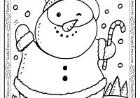 Santa Christmas List Coloring Page With Snowman Printable