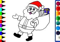 Santa Claus Cartoon Coloring Pages With Art Colors For Kids Draw Merry