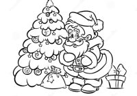 Santa Claus Cartoon Coloring Pages With Christmas Tree Gift Page Stock Illustration