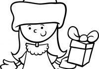 Santa Claus Cartoon Coloring Pages With Girl Page Royalty Free Vector