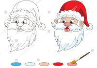 Santa Claus Head Coloring Pages With Santas Page Stock Vector Royalty Free 350272604