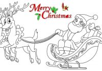 Santa Claus Sleigh Coloring Pages With HOW TO DRAW SANTA CLAUSE ON SLEIGH COLORING PAGES For KIDS LEARN