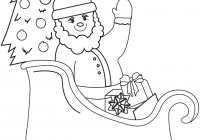 Santa Claus Sleigh Coloring Pages With On Page Free Printable